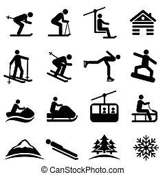 hó, tél, síel, ikonok