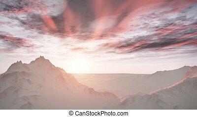 hó, vadon, napkelte, hegyek