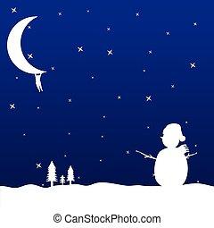 hóember, ábra, hold, vektor, függő, ember