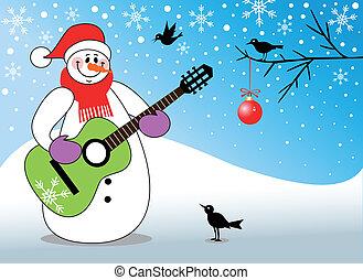 hóember, gitár játék