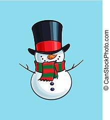 hóember, -, karácsony, mosolygós, karikatúra, ikon