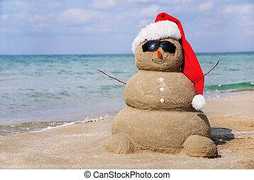 hóember, lenni, fogalom, sand., használt, elkészített, konzerv, év, kártya, új, ünnep, karácsony, ki