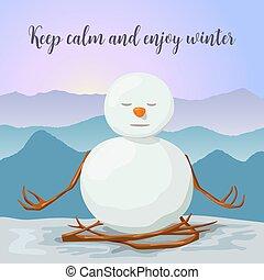 hóember, relaxed., jóga, tél, hegyek, lótusz, posture., csendes, napkelte