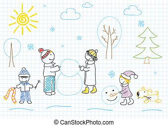 hóember, vidám család, sculpts