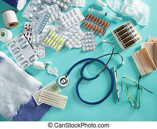 hólyag, gyógyszerészeti, orvos, orvosi, töm, sztetoszkóp, háttér, íróasztal, zöld, pirula
