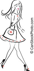hölgy, gyalogló, vektor, bevásárlás