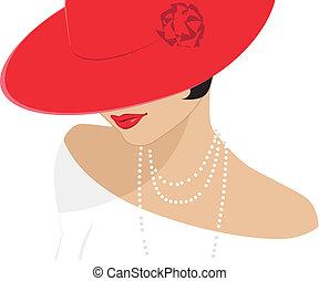 hölgy, kalap, piros