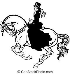 hölgy, ló, fekete, fehér