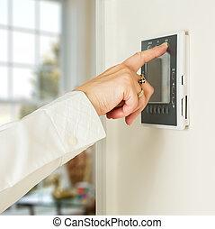 hölgy, modern, nyomás, kaukázusi, termosztát