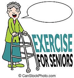hölgy, nemezelőmunkás, gyakorlás, idősebb ember