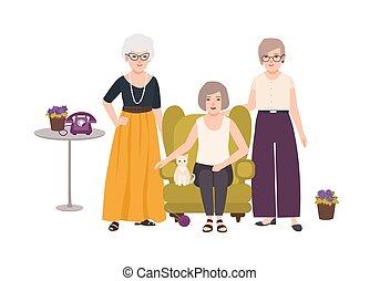 hölgyek, öreg, karosszék, öregedő, kényelmes, finom, együtt., női, mosolygós, csoport, költés, öltözött, characters., nők, színes, ülés, karikatúra, standing., illustration., vektor, idő, öltözék