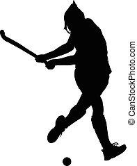 hölgyek, labda, árnykép, csapó, játékos, jégkorong, leány