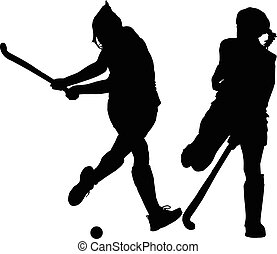 hölgyek, labda, árnykép, csapó, játékosok, jégkorong, leány, eltorlaszolás