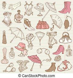 hölgyek, mód, szórakozottan firkálgat, -, segédszervek, gyűjtés, kéz, vektor, húzott