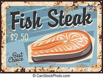 hússzelet, tányér, lazac, fish, berozsdásodott, tenger gyümölcsei, filé