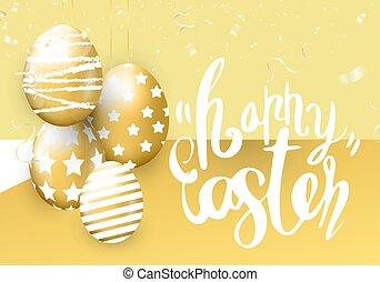 húsvét, arany- háttér, transzparens, fémből való, boldog, ikra, konfetti