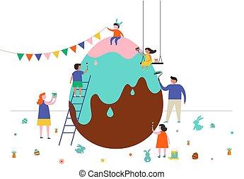 húsvét, gyerekek, család, színhely, boldog