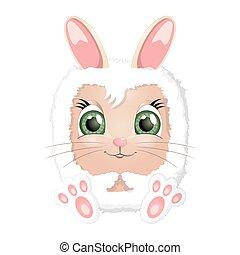 húsvét, karikatúra, üregi nyúl, nyuszi