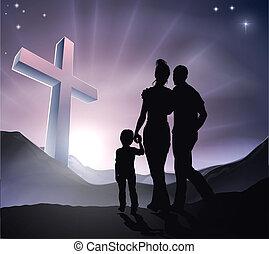 húsvét, keresztény, kereszt, család