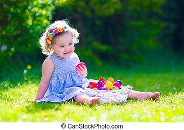 húsvét, kevés, üldöz, tojás, leány