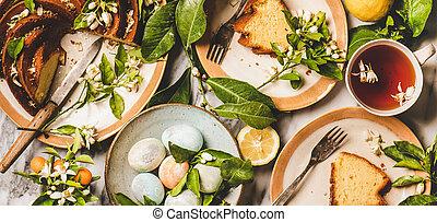 húsvét, kivirul, elágazik, széles, tea, ikra, citrom, zenemű, torta