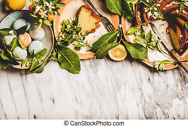 húsvét, másol, kivirul, elágazik, tea, ikra, citrom, hely, torta