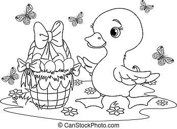 húsvét, színezés, oldal, duckling.