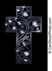húsvét, vektor, káró, kereszt