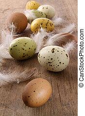húsvét, wooden asztal, pettyes, ikra
