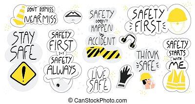 húzott, állhatatos, kéz, biztonság, felirat