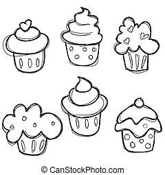 húzott, állhatatos, kéz, cupcake