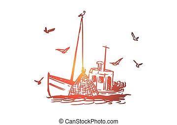 húzott, csónakázik, elszigetelt, kéz, hajó, tengeri, halászat, concept., kereskedelmi, vector.