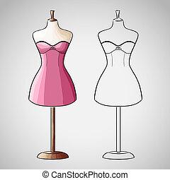 húzott, dressform, ruha, kéz