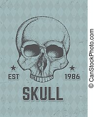 húzott, emberi kezezés, skull.