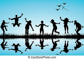 húzott, kéz, játék, gyerekek, természet