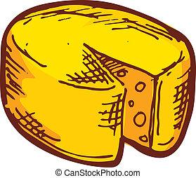 húzott, kéz, sajt