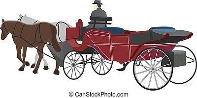 húzott, ló, kocsi, ábra