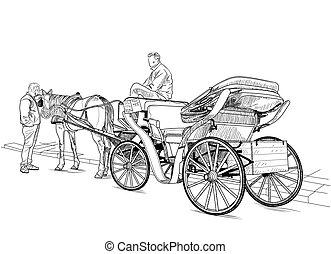 húzott, ló, kocsi