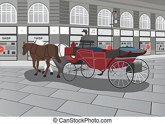 húzott, ló, utca, kocsi, ábra