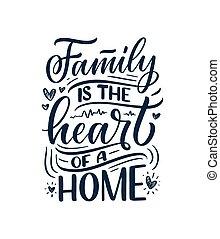 húzott, nyomtat, szlogen, mód, kézírás, kéz, körülbelül, modern, árajánlatot tesz, design., vektor, felirat, family., poszter