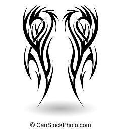 húzott, törzsi, kéz, tetovál