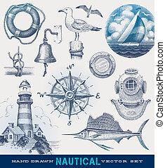 húzott, tengeri, vektor, állhatatos, kéz