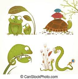 hüllő, állatok, szülő, gyűjtés, csecsemő, karikatúra
