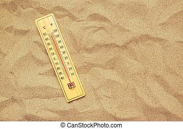 hőmérséklet, magas, hanglemez, homok, meleg, lázmérő, dezertál