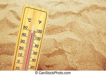 hőmérséklet, magas, homok, meleg, lázmérő, rendkívül, dezertál