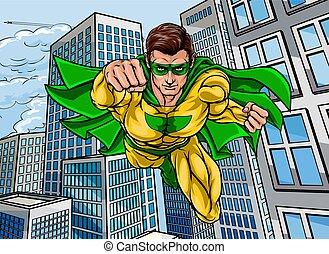 hős, repülés, város, szuper