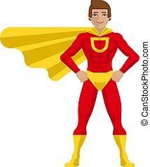 hős, szuper, ember, karikatúra