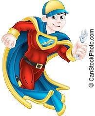 hős, szuper, vízvezeték szerelő
