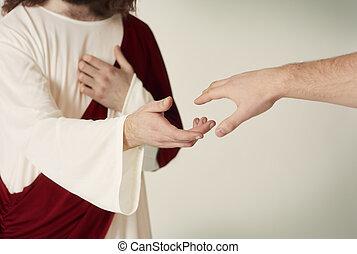 hűséges, elérő, megmentés, kéz, jézus