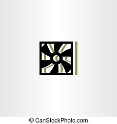 hűtőtáska, ventiláció, vektor, jelkép, ikon